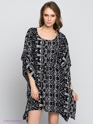 Платье-туника OBJECT. Цвет: черный, белый
