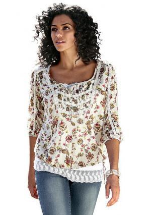 Блузка BOYSENS BOYSEN'S. Цвет: кремовый с рисунком