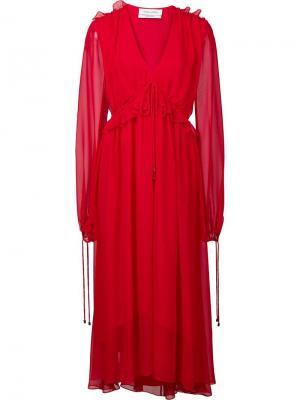 Струящееся платье с V-образным вырезом Prabal Gurung. Цвет: красный