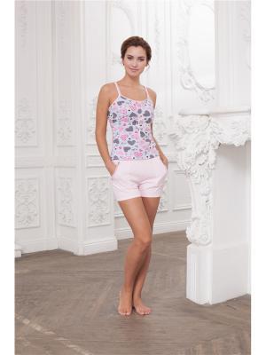 Пижама CLEO. Цвет: розовый, серый