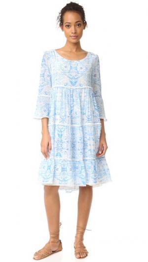 Платье с оборками голубой Misummer Athena Procopiou. Цвет: синий/белый