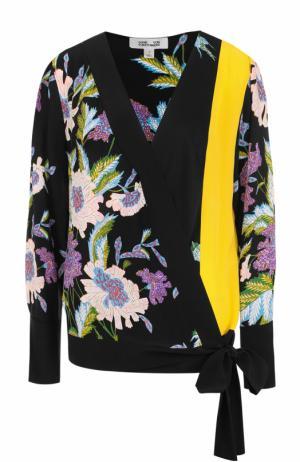 Шелковый топ с цветочным принтом Diane Von Furstenberg. Цвет: разноцветный