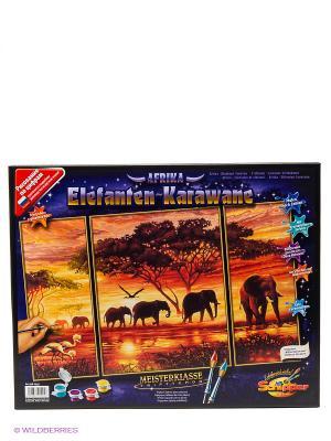 Набор для раскрашивания Триптих Африканские слоны Schipper. Цвет: темно-синий