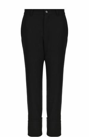 Однотонные шерстяные брюки с завышенной талией Yohji Yamamoto. Цвет: черный
