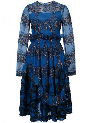 Платье с вышивкой Jourden. Цвет: синий