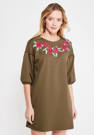 Платье Mango. Цвет: хаки