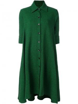Платье-рубашка с узором-елочкой Ultràchic. Цвет: зелёный