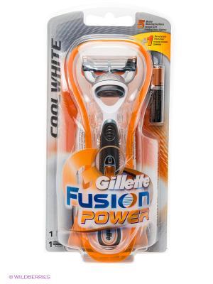 Бритва FUSION Power CoolWhite, с 1 сменной кассетой GILLETTE. Цвет: оранжевый