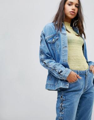 Chorus Свободная джинсовая куртка с рукавами на шнуровке. Цвет: синий