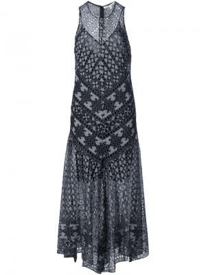 Свободное платье с вышивкой Veronica Beard. Цвет: чёрный