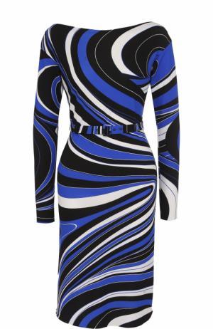 Приталенное платье с длинным рукавом и принтом Emilio Pucci. Цвет: синий