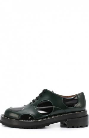 Кожаные ботинки с цветными вставками Marni. Цвет: зеленый