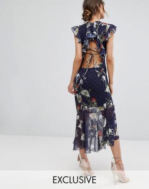 Hope and Ivy Платье миди с вышивкой и баской &. Цвет: темно-синий