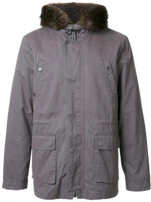 Дутая куртка с капюшоном Yves Salomon Homme. Цвет: серый
