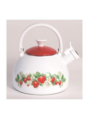 Чайник с бак.руч., со свистком 2,75 л METROT. Цвет: белый, красный