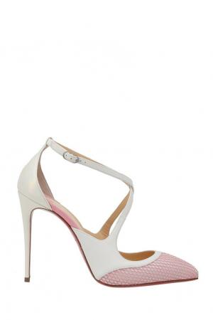 Кожаные туфли Crissos 100 Christian Louboutin. Цвет: розовый, белый