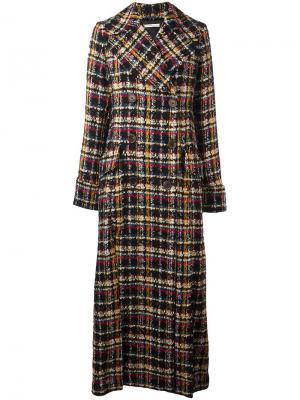 Удлиненное двубортное пальто Alessandra Rich. Цвет: чёрный