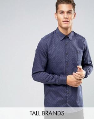 Ted Baker Джинсовая рубашка узкого кроя с принтом TALL. Цвет: темно-синий