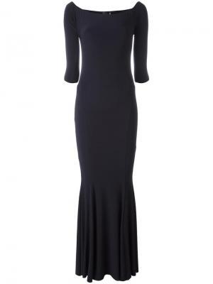 Длинное платье с открытыми плечами Norma Kamali. Цвет: синий