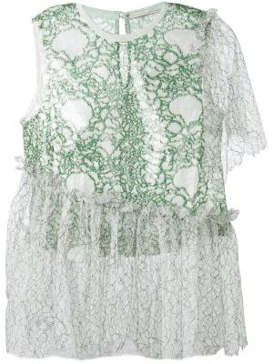 Асимметричная кружевная блузка Marco De Vincenzo. Цвет: зелёный