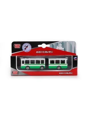Автобус с резинкой Технопарк металлический 12см. Цвет: зеленый, белый