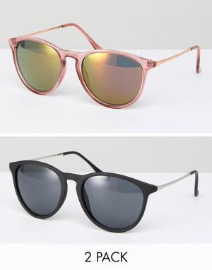 ASOS Набор розовых и черных солнцезащитных очков (2 пары). Цвет: мульти