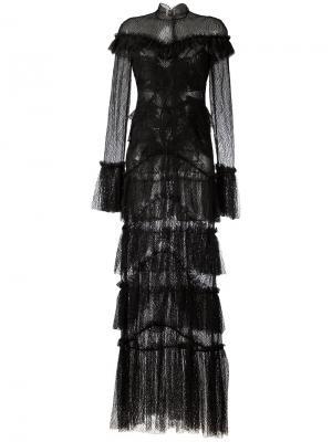Кружевное прозрачное платье макси с оброками Jonathan Simkhai. Цвет: чёрный