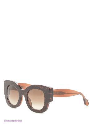 Солнцезащитные очки FENDI. Цвет: бордовый, коричневый