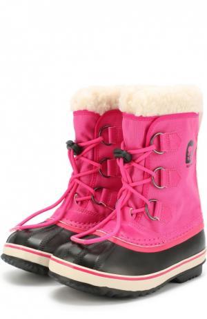 Комбинированные сапоги на шнуровке Sorel. Цвет: розовый