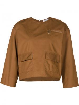 Топ с накладными карманами Nomia. Цвет: коричневый