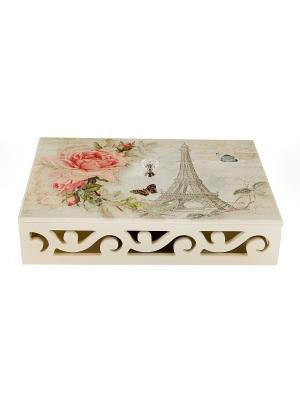 Шкатулка для хранения чая Очарование Парижа Русские подарки. Цвет: белый, бежевый