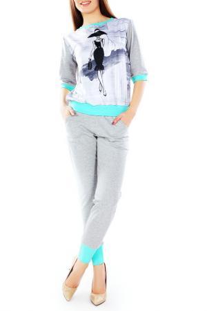 Костюм: джемпер, брюки Majaly. Цвет: серый, бирюзовый