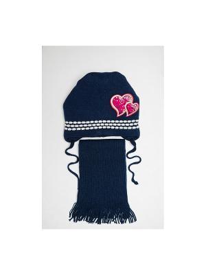 Шапка, шарф Tricotier. Цвет: темно-синий