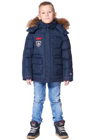Куртка пуховая Junior Republic. Цвет: синий