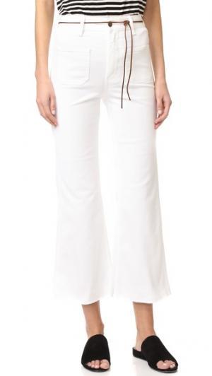 Расклешенные джинсы из твила Indy Aries. Цвет: белый