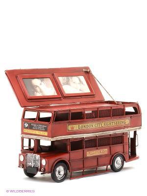 Фоторамка Лондонский автобус 2фото 5х8см PLATINUM quality. Цвет: красный