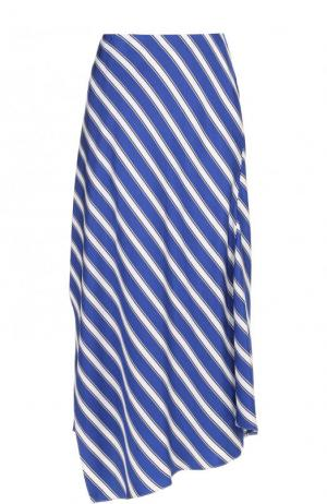 Шелковая юбка-миди в полоску Escada. Цвет: синий