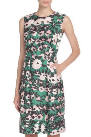 Платье Marni. Цвет: зеленый, черный, розовый