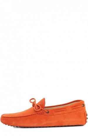 Замшевые мокасины Gommino Driver Tod's. Цвет: оранжевый