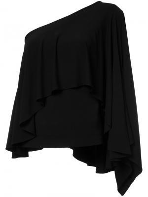 Асимметричная блузка с оборками Plein Sud. Цвет: чёрный