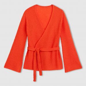 Кардиган-кимоно La Redoute Collections. Цвет: оранжевый,черный