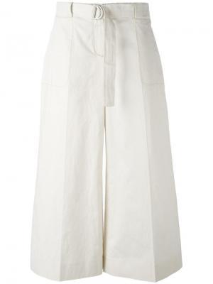 Укороченные широкие брюки Maison Margiela. Цвет: белый