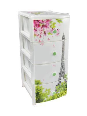 Комод Париж 4-х секционный Альтернатива. Цвет: белый, зеленый, серый