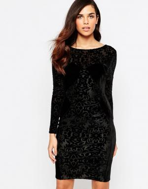 Lashes of London Бархатное платье с «выжженным» рисунком. Цвет: черный