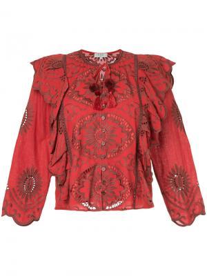 Блузка с вышивкой и рюшами Sea. Цвет: красный