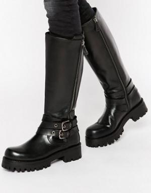 Park Lane Массивные кожаные высокие сапоги с ремешками. Цвет: черный