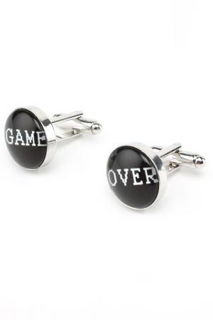 Запонки Game Over свадебные Churchill accessories. Цвет: серебряный