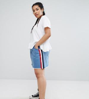 Daisy Street Plus Джинсовая юбка с отделкой. Цвет: синий