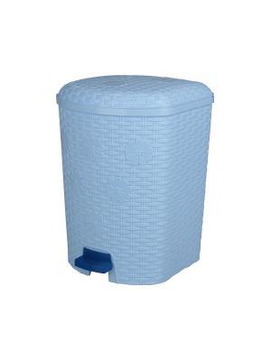 Контейнер для мусора Плетёнка 12л. с педалью Альтернатива. Цвет: голубой