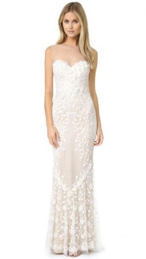 Вечернее платье Ashton с декоративной отделкой тюлем Catherine Deane. Цвет: ванильный/устричный